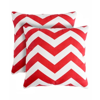 Slumber Shop Rockford Zig-zag Red Decorative 18-inch Throw Pillow (Set of 2)