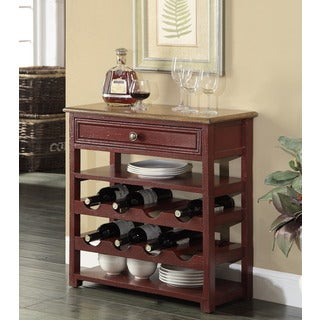 Treasure Trove Accents Buxton Texture Red and Brown One Drawer Wine Server