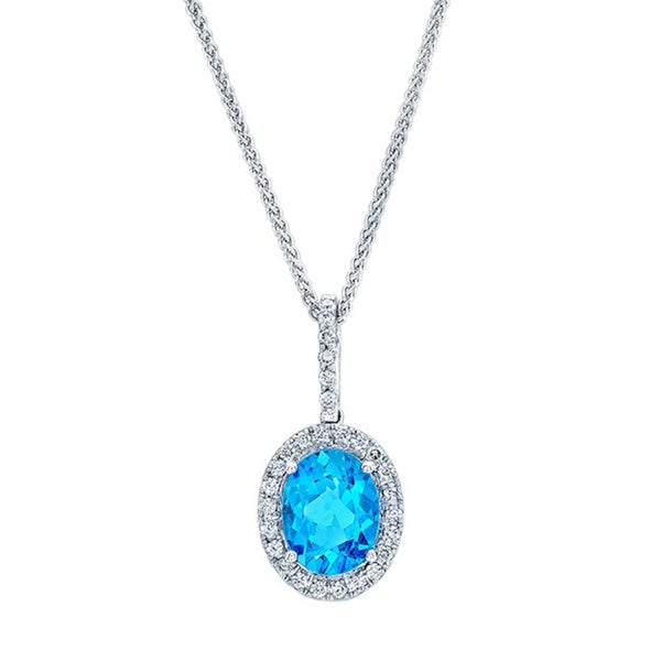 Estie G 14k White Gold Blue Topaz and 1/2ct TDW Diamond Wheat-Spiga Chain Necklace (H-I, VS1-VS2)