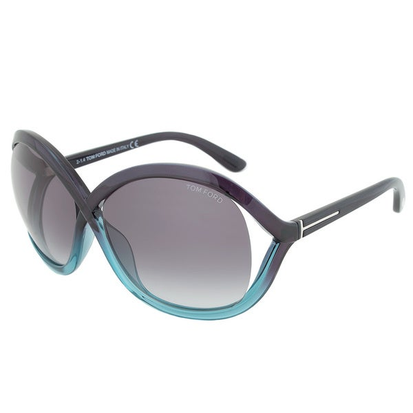 Tom Ford FT0297 20B Sandra Purple Teal Black Lens Butterfly Sunglasses