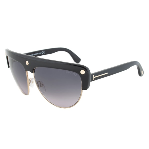 Tom Ford FT0318 01B Liane Shield Black/ Gold Frame Sunglasses
