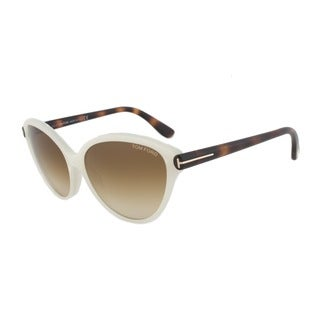 Tom Ford FT342 20F Priscila Ivory and Tortoise Cateye Sunglasses