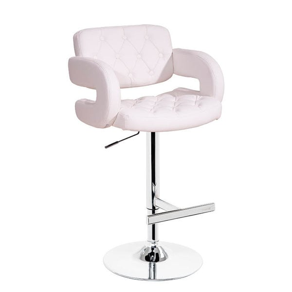 Modrest Eco-leather White Contemporary Barstool