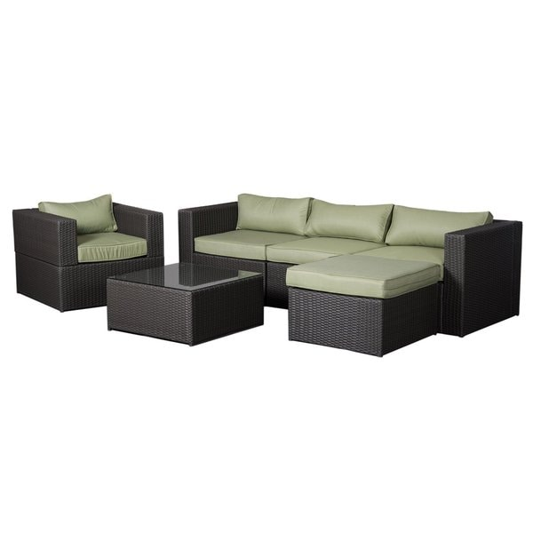 COBANA CBN-15007 All Weather Resin Rattan Wicker Conversation Sofa Set with a Furniture Cover