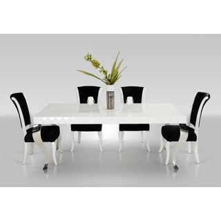 Modrest Versus Mia White Lacquer Modern White Dining Table