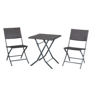 Cobana 3-piece Outdoor Patio Resin Wicker Rattan Folding Bistro Set with a Furniture Cover