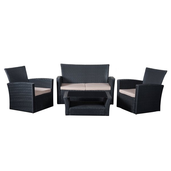 Cobana 4-piece All Weather Resin Rattan Wicker Conversation Sofa Set with a Furniture Cover