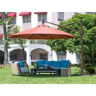 Abba Patio 11-foot Deluxe Octagon Offset Cantilever Patio Umbrella/ Outdoor Hanging Canopy with Vertical Tilt and Cross Base