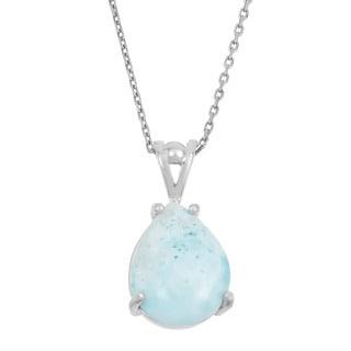 La Preciosa Sterling Silver Larimar Teardrop Gemstone Necklace