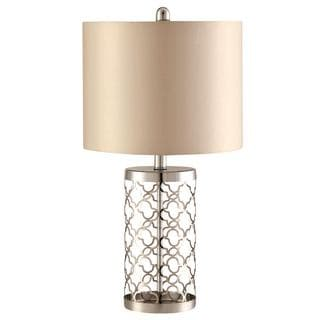 Diamond Metal Decorative Patterned Table Lamp with Fabric Shade