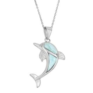La Preciosa Sterling Silver Larimar Gemstone Dolphin Necklace