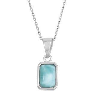 La Preciosa Sterling Silver Larimar Gemstone Rectangular Necklace