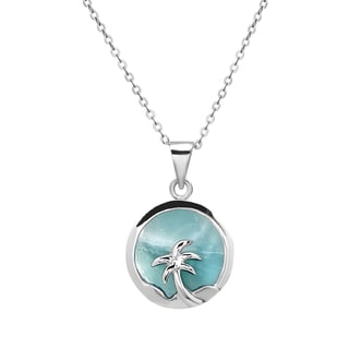 La Preciosa Sterling Silver Larimar Gemstone Palm Tree Circle Necklace