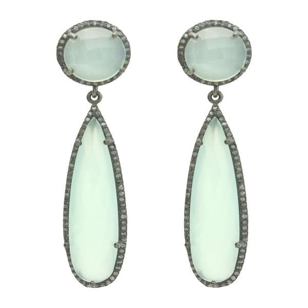 Silver Chalcedoney earrings with Diamonds