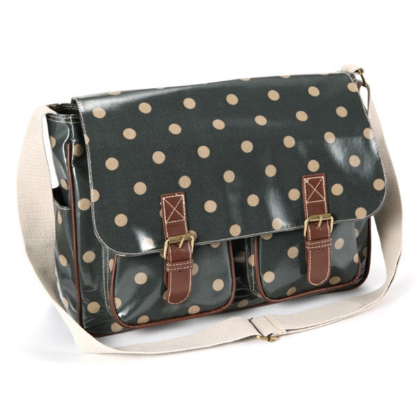 Womens Oilcloth Polka Dots Schoo Bag Messenger Satchel Shoulder Saddle Bag
