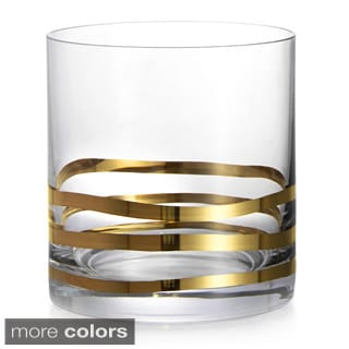 Fitz & Floyd Wave Old Fashion Glasses (Set of 4)