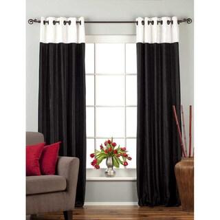 Signature Ring Top Black and White designer Velvet Curtain Panel (India)