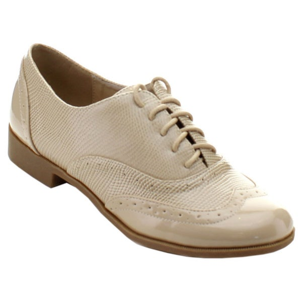 Nature Breeze Campus-02 Women's Smooth Snake Wing Tip Lace Up Casual Shoes