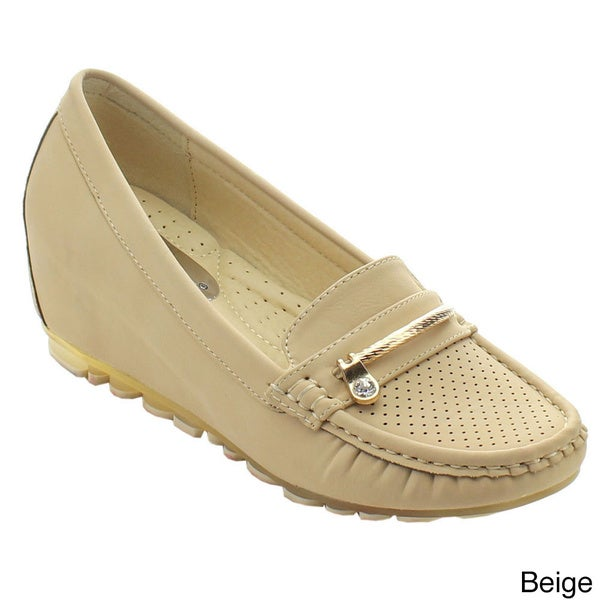 Nature Breeze Southbay-01 Women's Slip On Moccasin Perforation Wedge