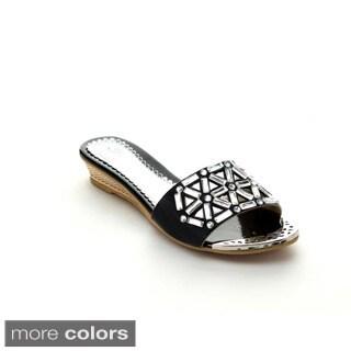 Bolaro Dw5831 Women's Open Toe Low Wedge Slides Sandals