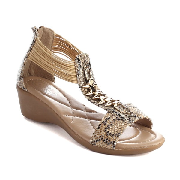 Bolaro Dw5850 Women's Open Toe Animal Skin Print Wedge Sandals