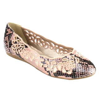 Bolaro Sf1459 Women's Printed Cut Out Ballet Flats