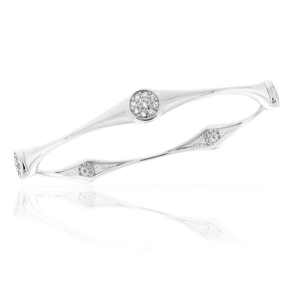 Gioelli Sterling Silver Sparkling Cicle Cubic Zirconia Bangle