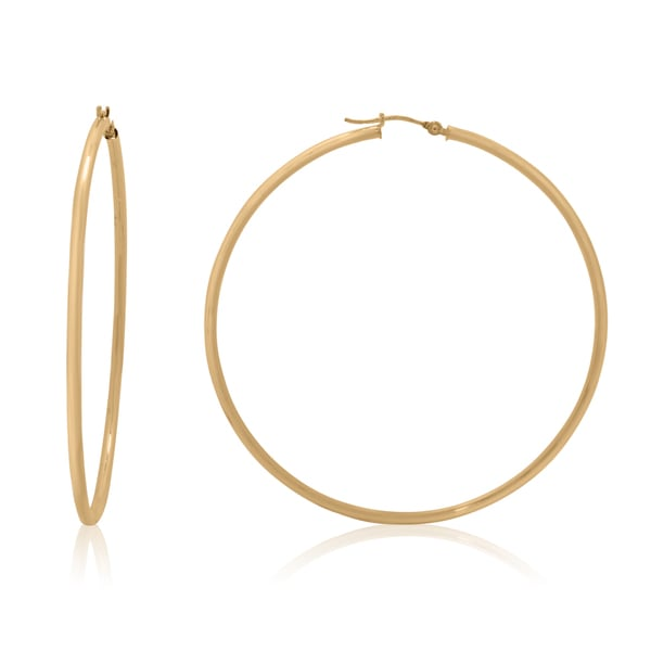 Gioelli 14k Gold High Polish 60mm Round Hoop Earrings
