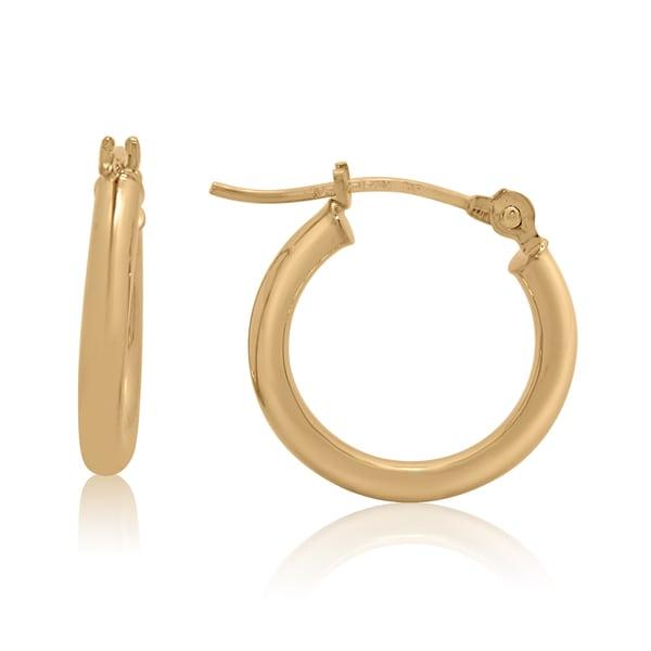 Gioelli 14k Gold High Polish 15mm Round Tube Hoop Earrings