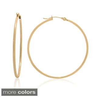 Gioelli 14k Gold High Polish 45mm Round Hoop Earrings