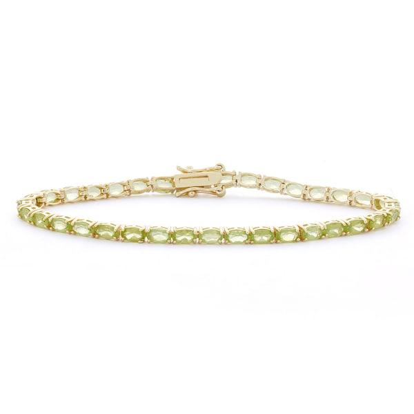 Gioelli Sterling Silver 5x3 mm Oval Peridot Link Bracelet 15640267