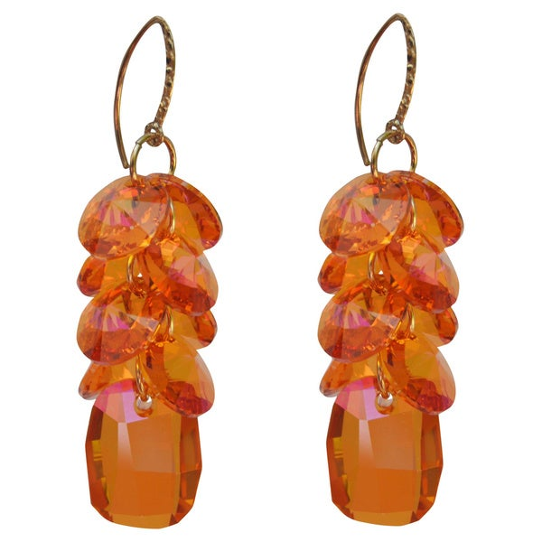 Handmade Gold-filled Crystal Astral Pink Disc Cluster Drop Earrings