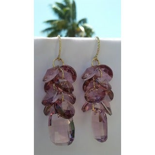 Handmade Gold-filled Crystal Antique Pink Disc Cluster Drop Earrings
