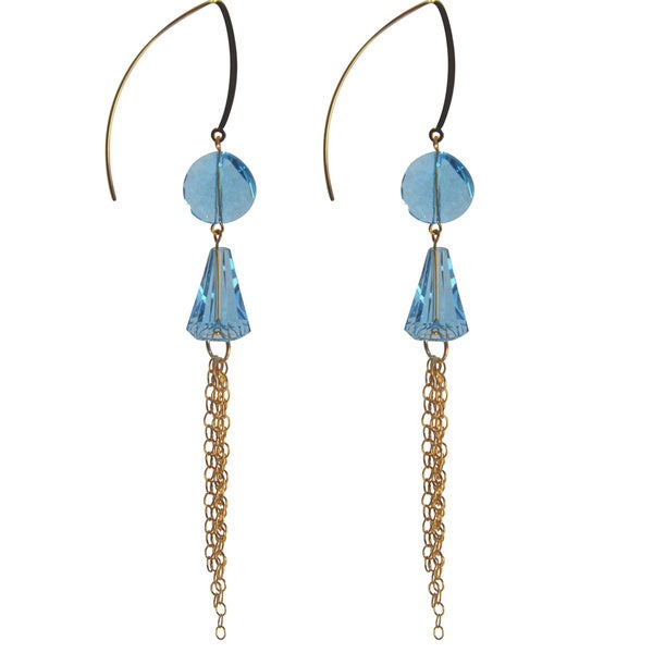 Handmade Gold-filled Crystal Aquamarine Tassel Drop Earrings