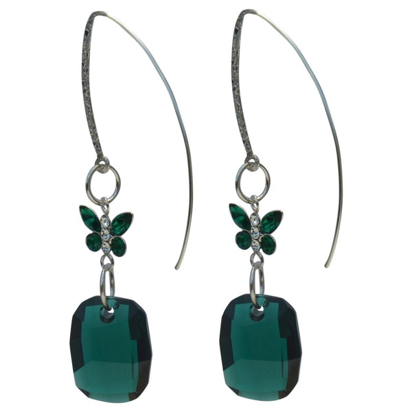 Handmade Crystal Emerald Butterfly Drop Earrings
