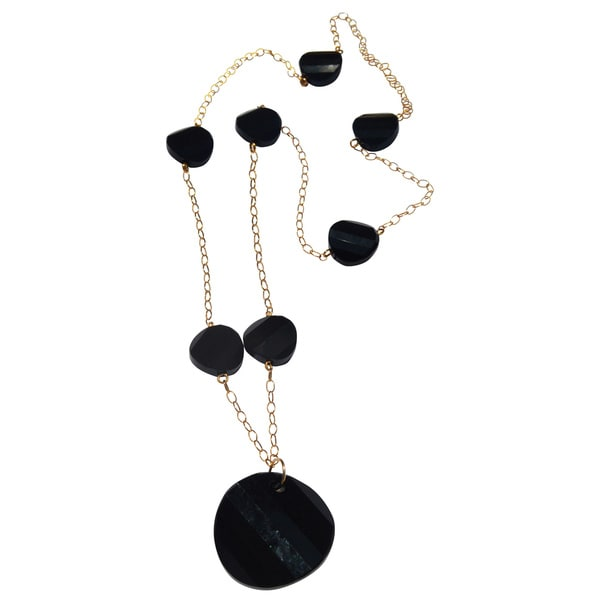 Handmade Gold-filled Jet Black Disc Necklace