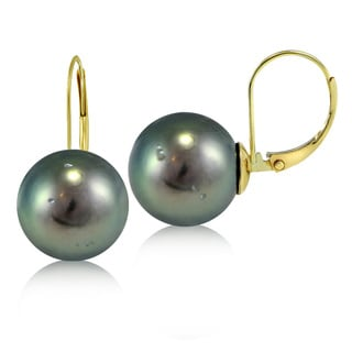 Glitzy Rocks 14K Yellow Gold Tahitian Cultured Pearl 12 mm Leverback Earrings