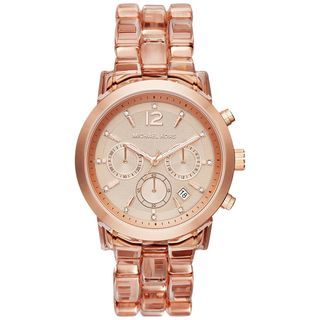 Michael Kors Women's MK6203 'Audrina' Chronograph Crystal Rose-Tone Plastic Watch
