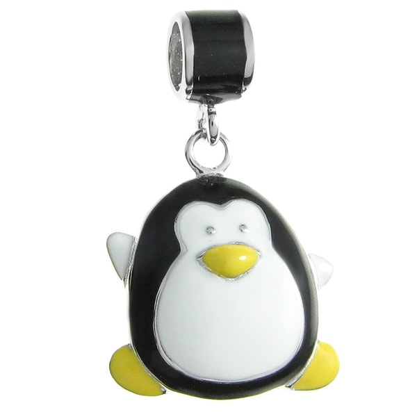 Queenberry Sterling Silver Lovely Penguin White Black Yellow Enamel Dangle European Bead Charm