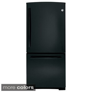 GE Energy Star 20.3 Black/ White Cubic-foot Bottom Freezer Refrigerator
