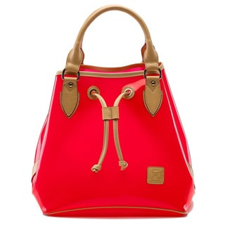 D by Dominie Small Red Genuine Leather Poppy Jelly Tote