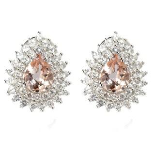 14k White Gold Pear-cut Morganite and White Zircon Omega Earrings