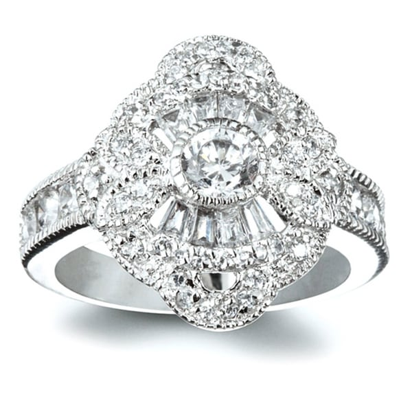 Sterling Silver White Cubic Zirconia Antique Inspired 1920s Ring