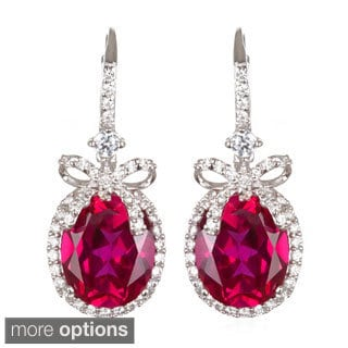 Sterling Silver Created Gemstone and White Cubic Zirconia Bow Drop Earrings