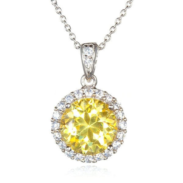 Sterling Silver Canary Cubic Zirconia Round Pendant