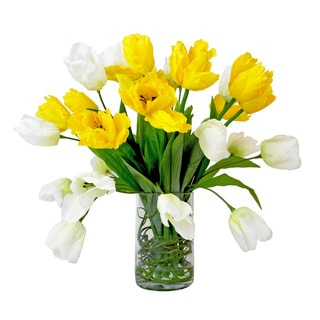 Yellow and White Silk Tulip Bouquet in Cylinder Glass Vase