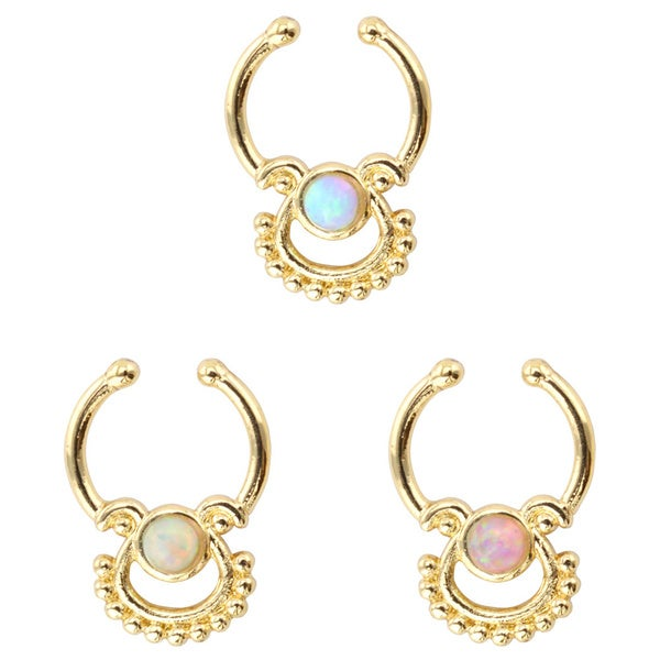 Supreme Jewelry Goldtone Opal Stone Faux Septum Clip-on Hoops (3-pack)