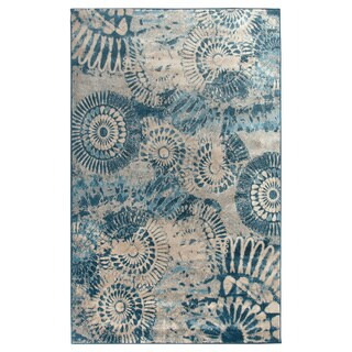 Rizzy Home Blue Bellevue Collection Power-loomed Accent Rug (5'3 x 7'7)