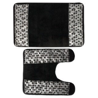 Classic Black and Silver Tile Patchwork Bath and Contour Rug Set or Separates