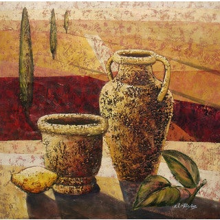 Still Life 'Containers on Field Landscape' Original Oil Painting on Canvas Wall Art